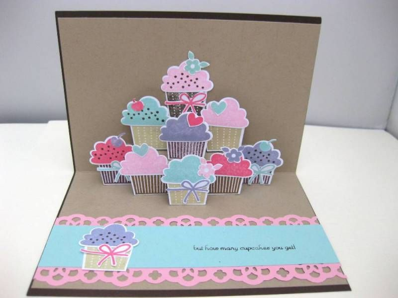 Cupcake Pop Up Card By Biscuitlid Cards And Paper Crafts At Splitcoaststampers Pop Up Cards Cards Cards Handmade