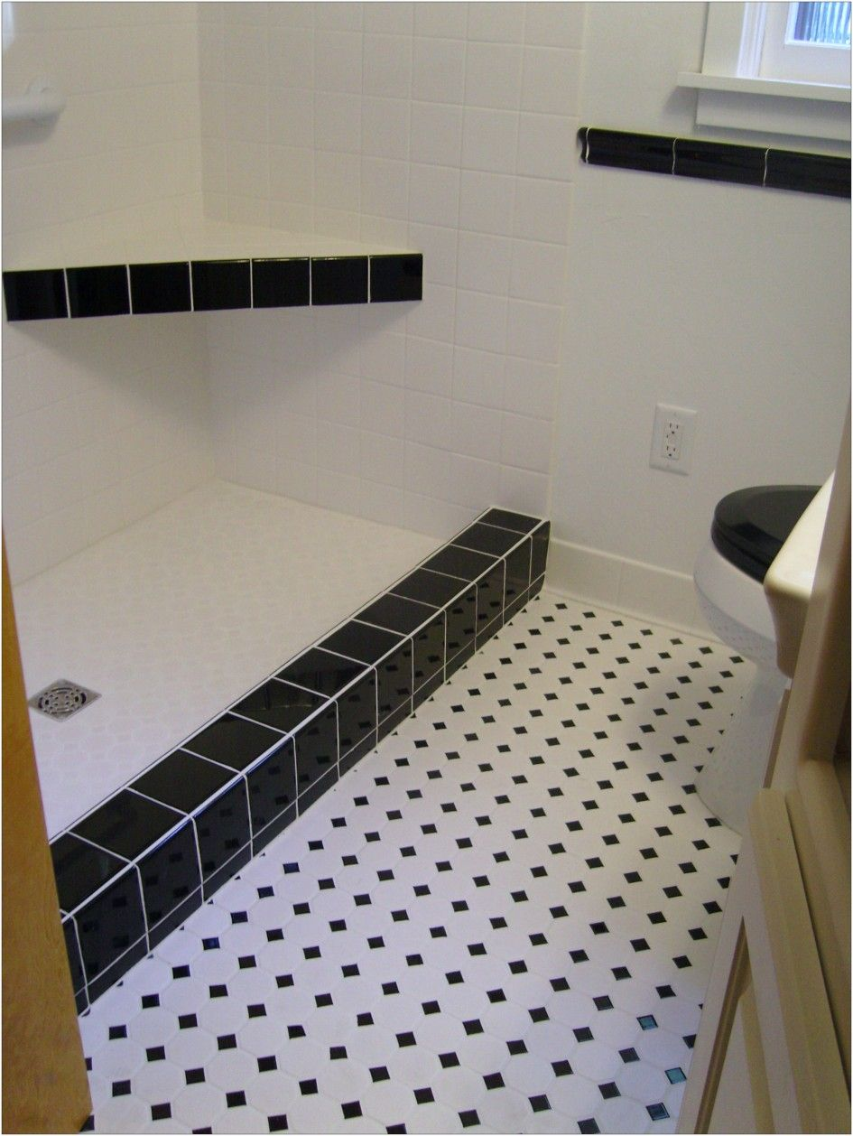 Interior In Vogue White Flooring Black Dotted Ceramic Bath Tile Floors Installation With Corner Shower Seating And White Wal Deco Carrelage Deco Salle De Bain