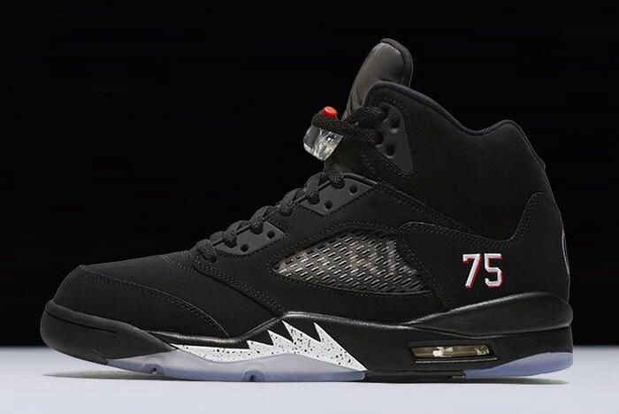 "timeless design 1da6e 1070a Air Jordan 5 ""PSG"" Black White-Challenge Red AV9175-001"