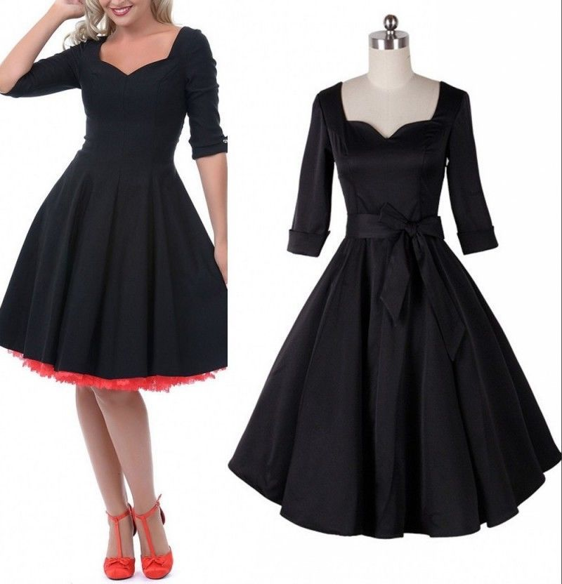 693b723eb09 Retro Women 50s full circle Style Casual Rockabilly Party Prom Pinup Swing  Dress