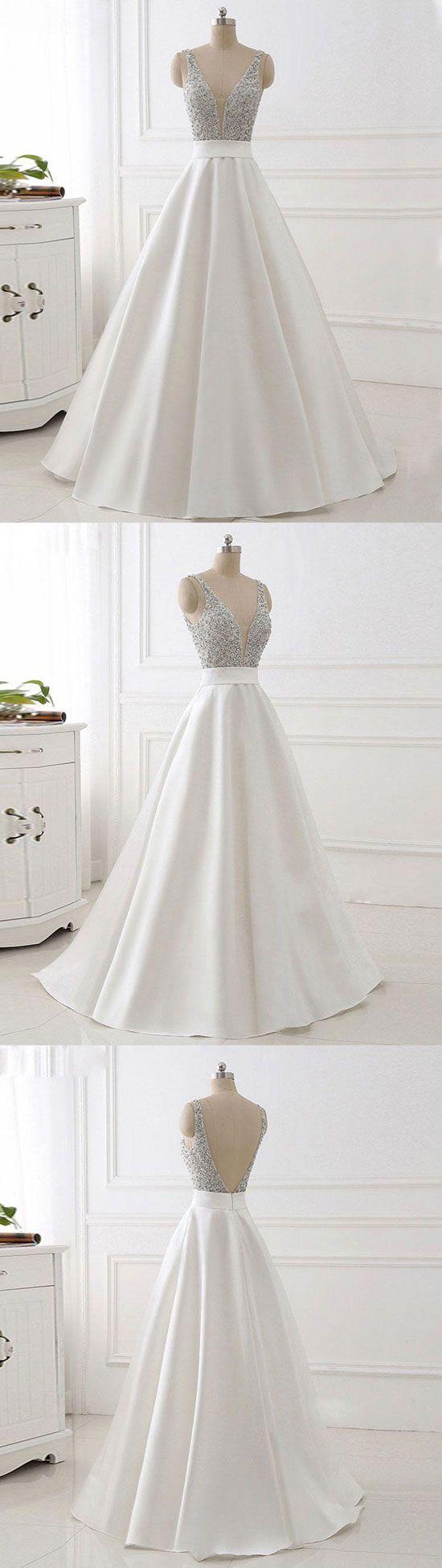 White v neck beads sequin long prom dress white evening dress in