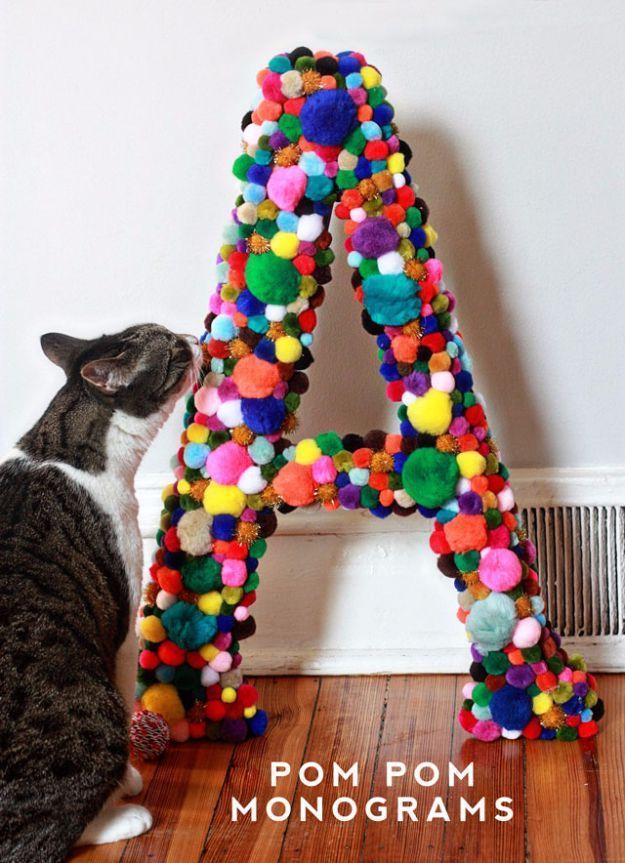 DIY Crafts with Pom Poms - Pom Pom Monograms - Fun Yarn Pom Pom Crafts Ideas. Garlands, Rug and Hat Tutorials, Easy Pom Pom Projects for Your Room Decor and Gifts http://diyprojectsforteens.com/diy-crafts-pom-poms