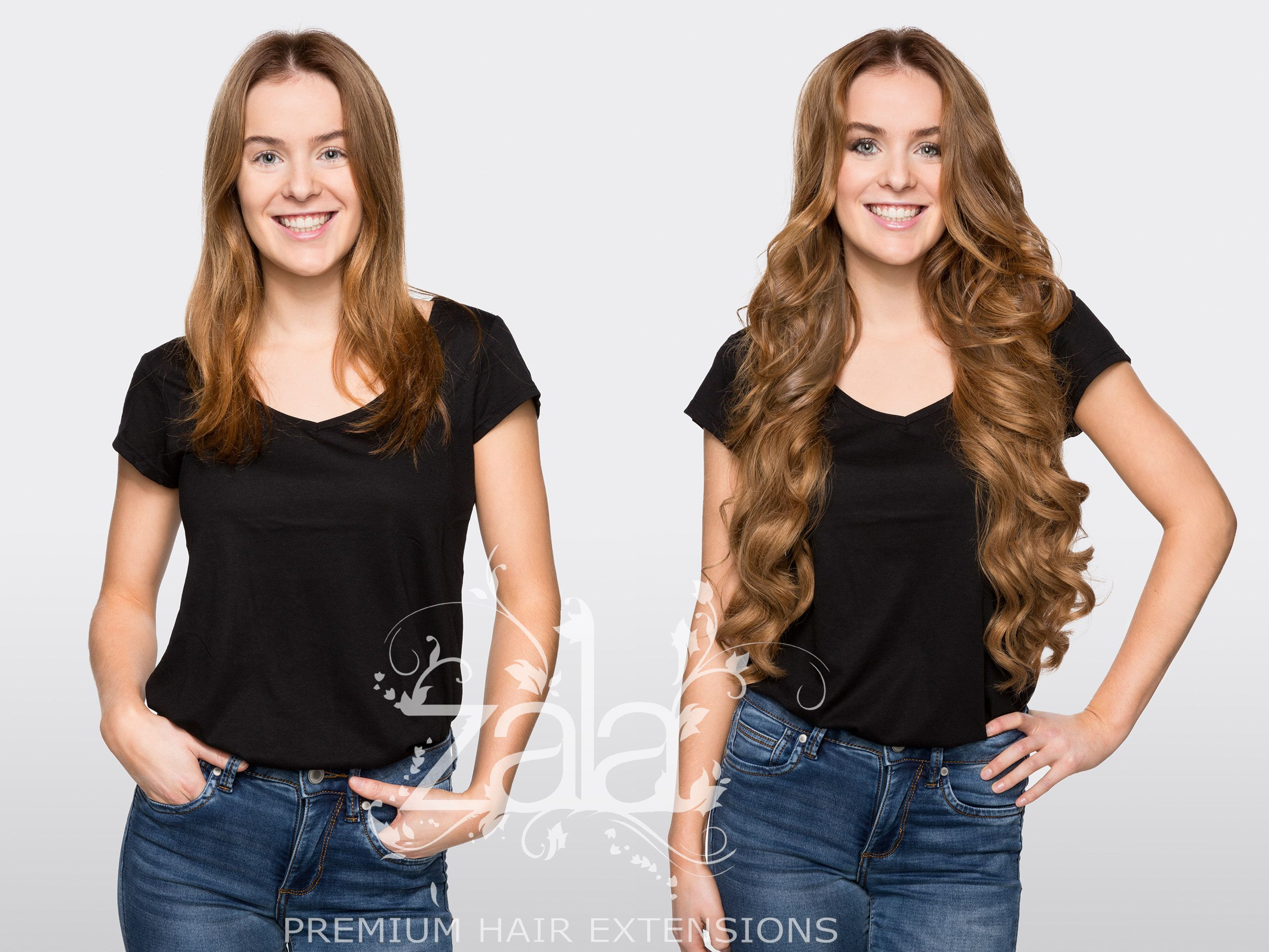Before And After Zala Caramel 24 Clip In Hair Extensions Hair