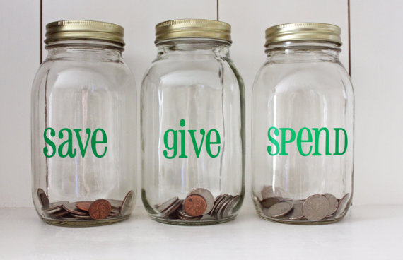 Money jar vinyl decal set spend save give diy project for mason jar