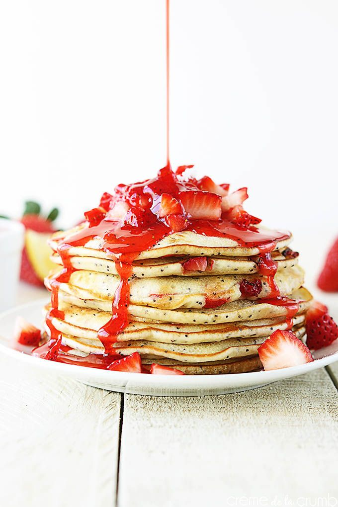 Strawberry lemon poppyseed pancakes - I would make a lemon syrup to put on top