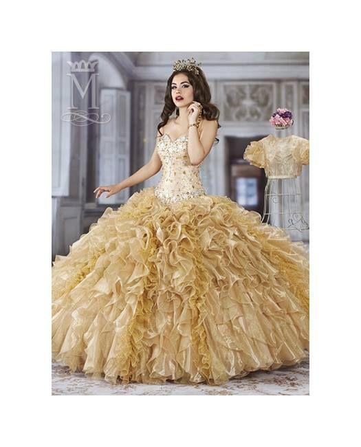 fcb2c7566 Vestido de 15 años con brillos color dorado