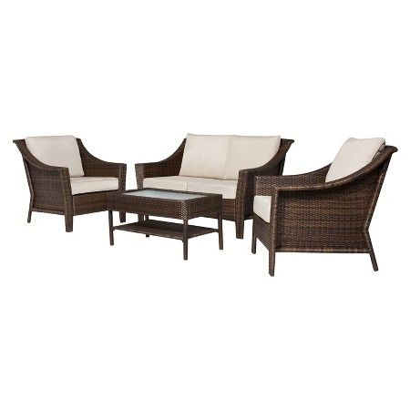 Rolston 4 Piece Wicker Conversation Furniture Set