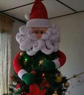 Manualidades Y Detalles Papa Noel Copa De Arbol Muneco Reno - Manualidades-navideas-papa-noel