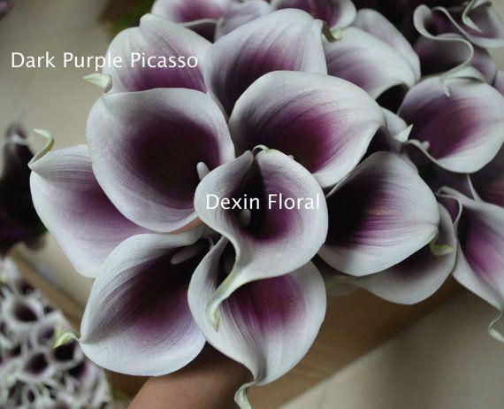 Vero tocco viola Picasso Calla Lily per seta fiore nuziale bouquet damigelle…