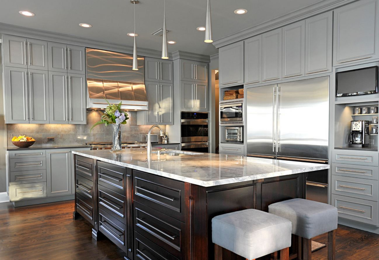 Grey Kitchen Cabinets With Espresso Stained Island