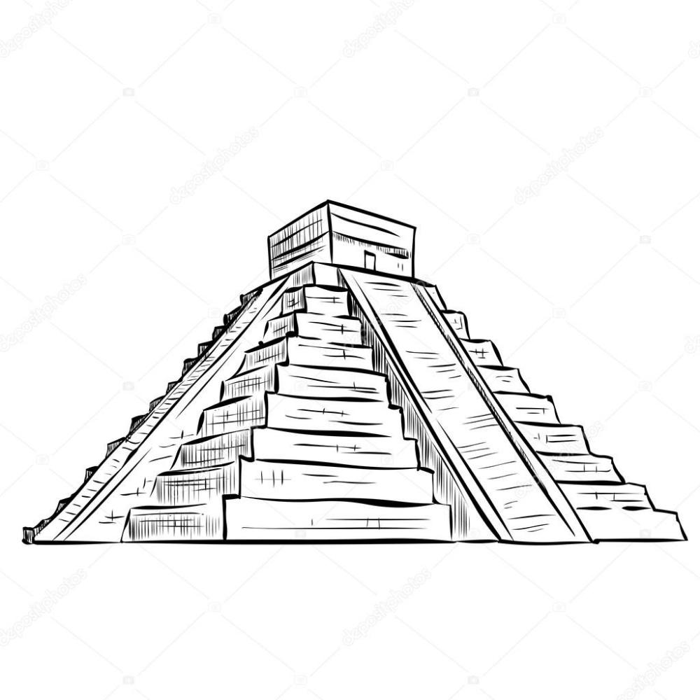 Vector Piramide Maya Dibujo Piramide Maya Dibujado A Mano Maya Dibujos Piramide Dibujo Piramide