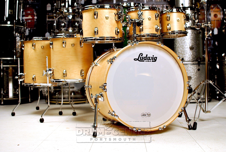 Ludwig Classic Maple 6pc Drum Set Satin Natural 22x18 8x7