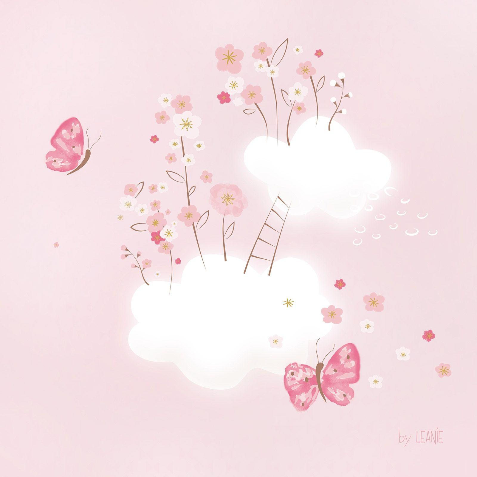 Tableau Cherry Blossom By Leanie Nuages En Fleurs 50 X 50 Cm