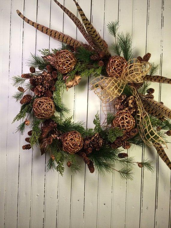 Christmas Wreath For Door Pheasant Christmas Wreath Woodsy Country Christmas Wreaths Rustic Christmas Wreath Christmas Wreaths Christmas Door Wreaths Rustic Christmas