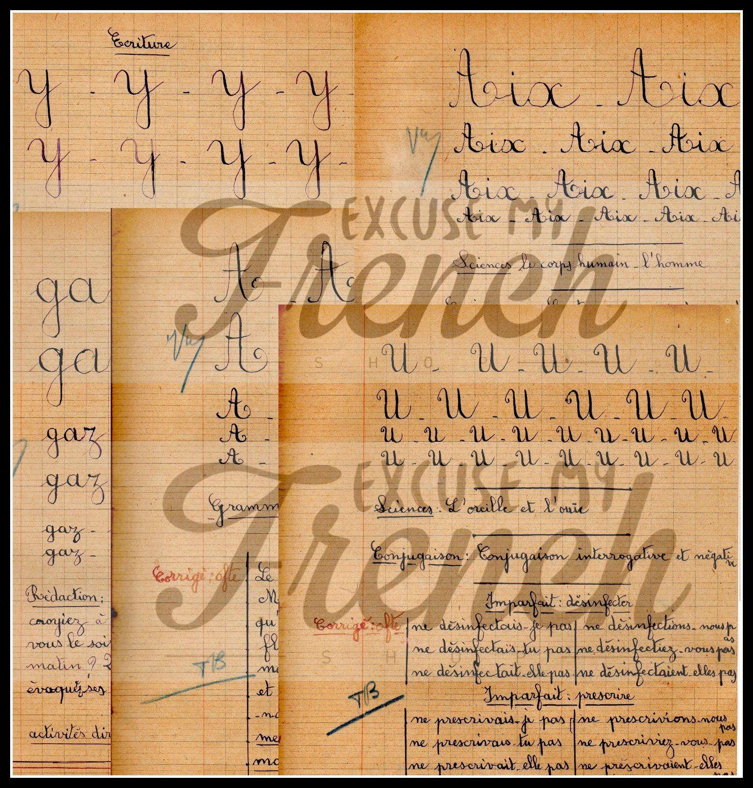 Printable Cursive Alphabet Vintage French Cursive