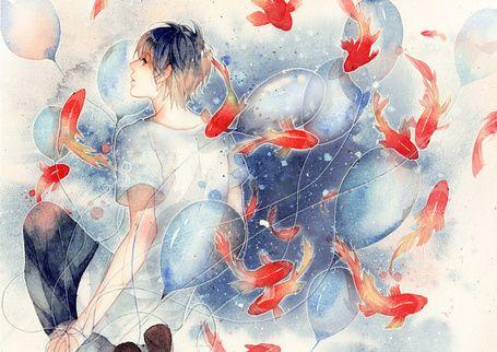 Фото Парень с воздушными шариками в окружении золотых ...