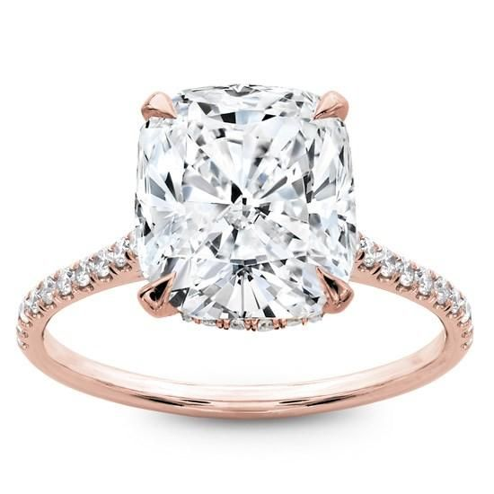 French Cut Basket Setting Diamonds 1/2 way in Rose Gold - R2981