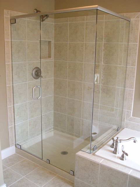 Frameless Shower With Plastic Base With Images Shower Doors