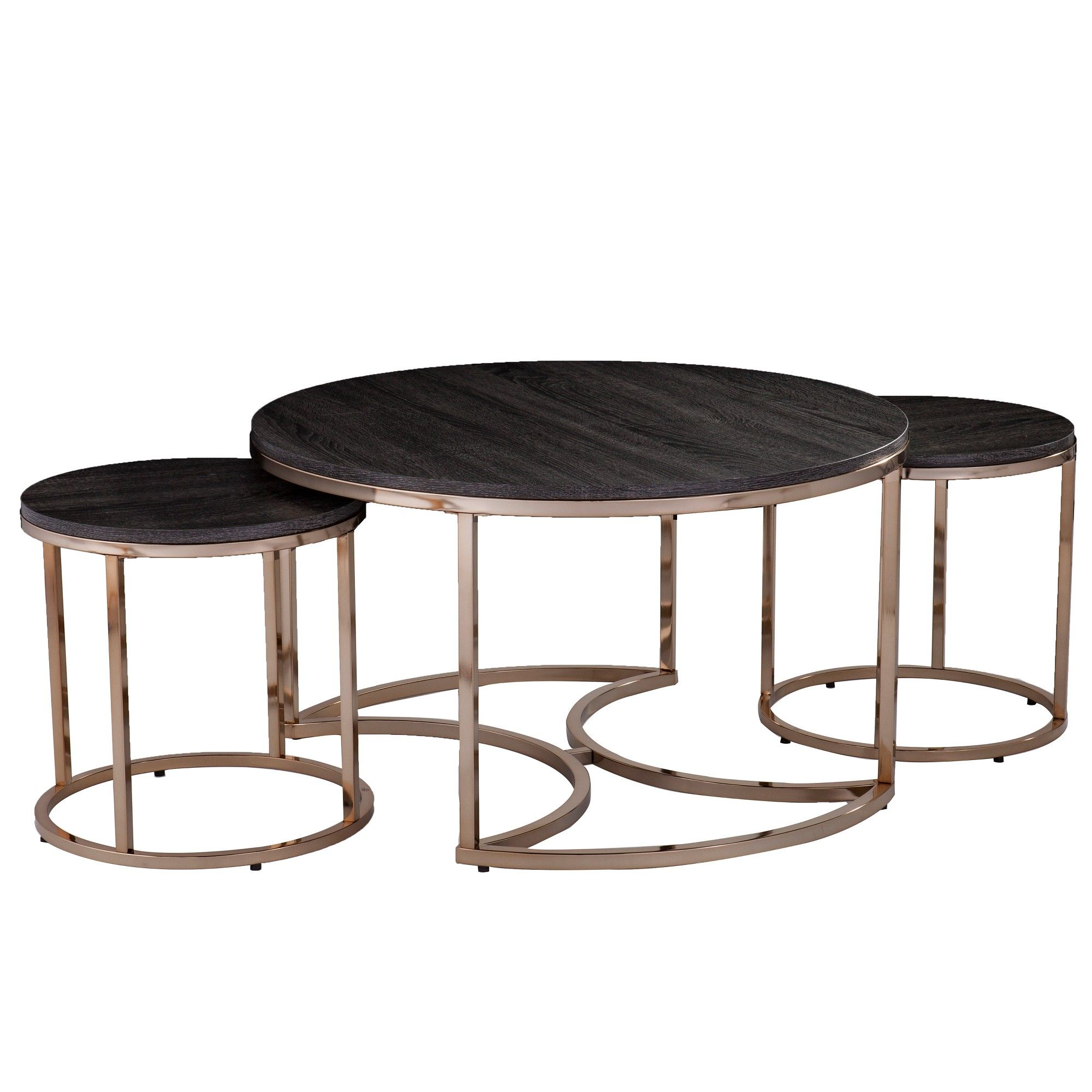 3pc Linder Round Nesting Coffee Tables Champagne Aiden Lane Nesting Coffee Tables Espresso Coffee Table Round Nesting Coffee Tables [ 2000 x 2000 Pixel ]
