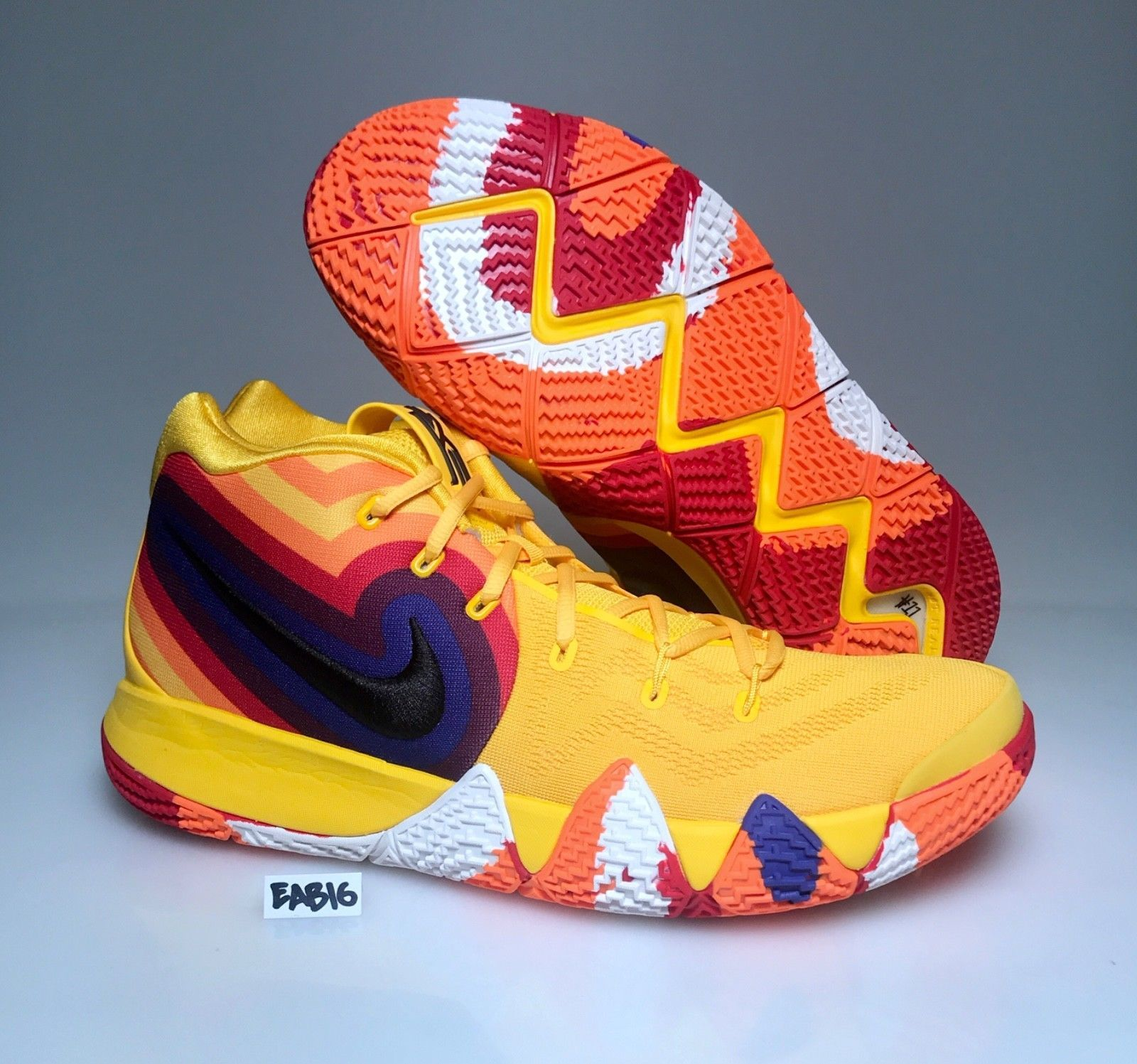 2f978642fe3 Nike Kyrie Irving 4 70s Yellow Orange Blue 943807-700 Mens   Kids GS Uncle  Drew