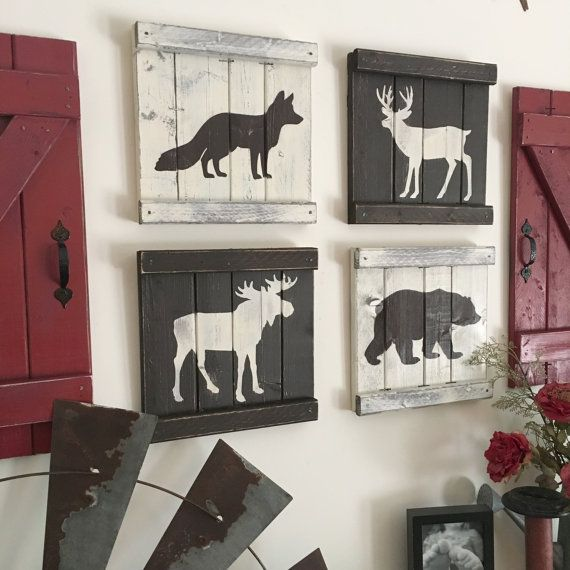 Wouldn 39 t these rustic woodland animals look so cute in a for Rustic bear home decor