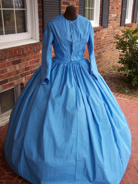 Beautiful Blue Tone On Tone Calico Civil War Simple Day Dress Camp Dress Small To 5x
