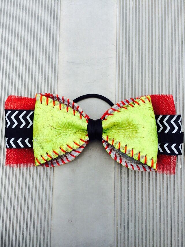 Bow made out of a softball ❤️