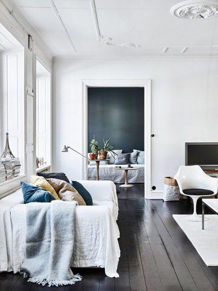 Dark Floor White Walls Home Living Room Interior Interior Design