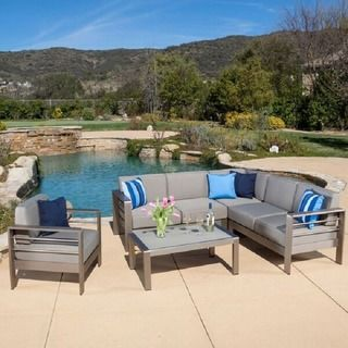Cape Coral Outdoor 7 Seater Sectional Sofa Chat Set With Sunbrella Cushions By Christopher Knight Home Sofa Set Patio Furniture Sets Outdoor Sofa Sets