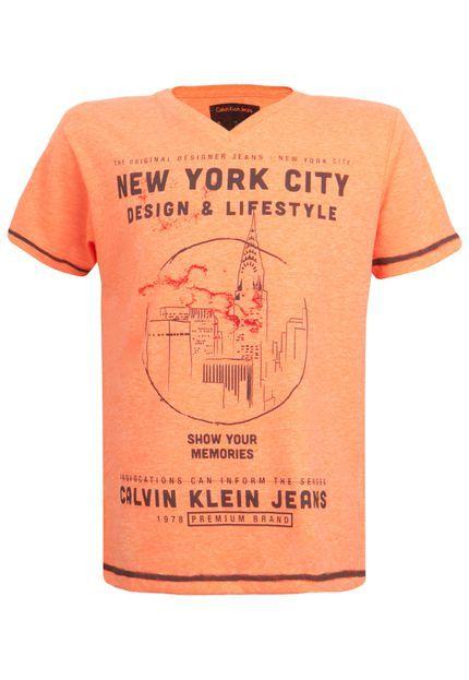 Camiseta Calvin Klein Kids NYC Laranja - Compre Agora   Dafiti Brasil 9b4ac9589a