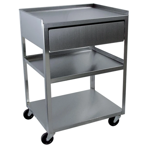 Cart W Drawer 3 Shelf Stainless Steel In 2021 Shelves Storage Supplies Tall Drawers Stainless steel cart with drawer
