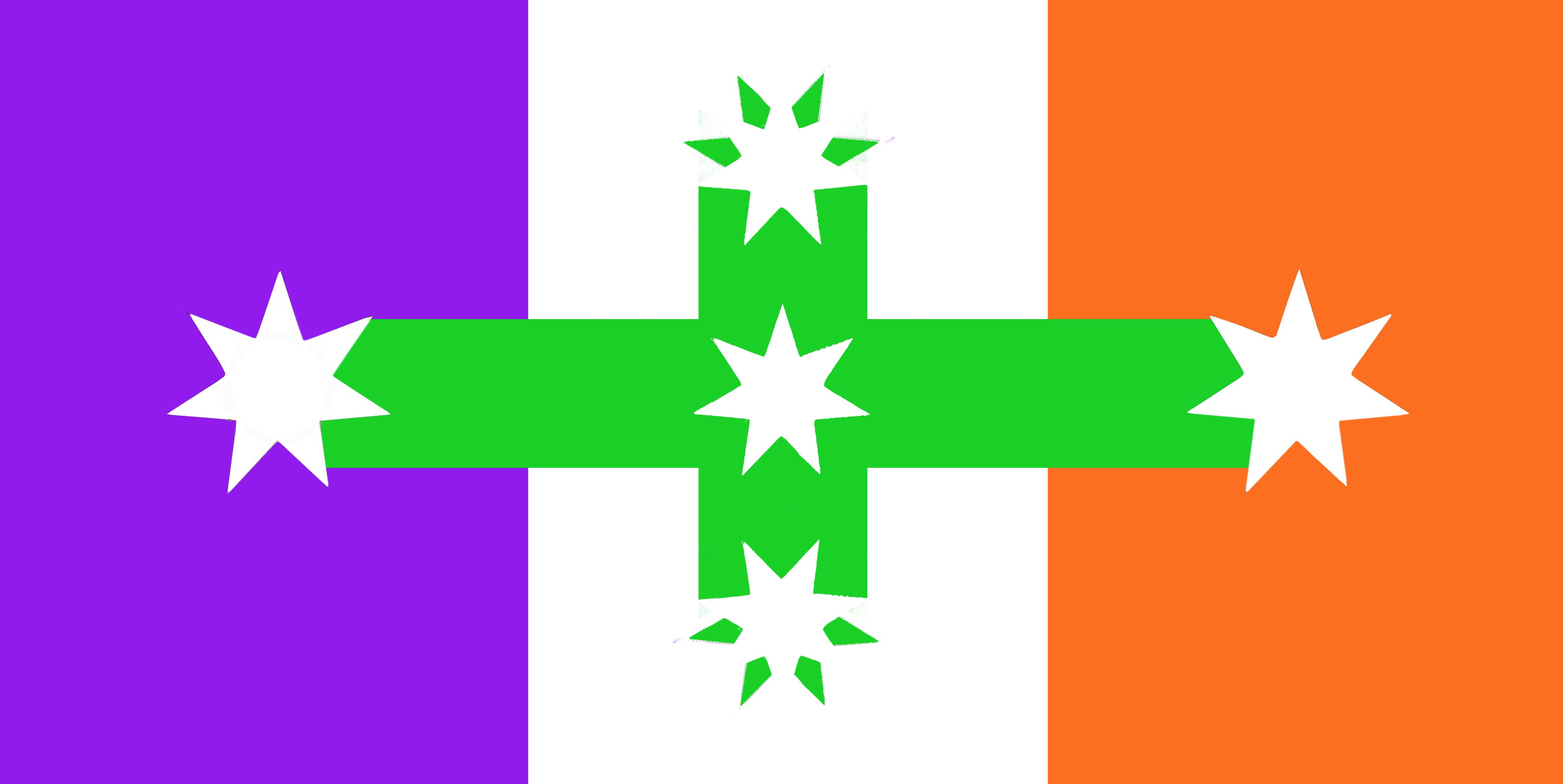 ausflag A TRICOLOUR with cross link reference to the Eureka Flag