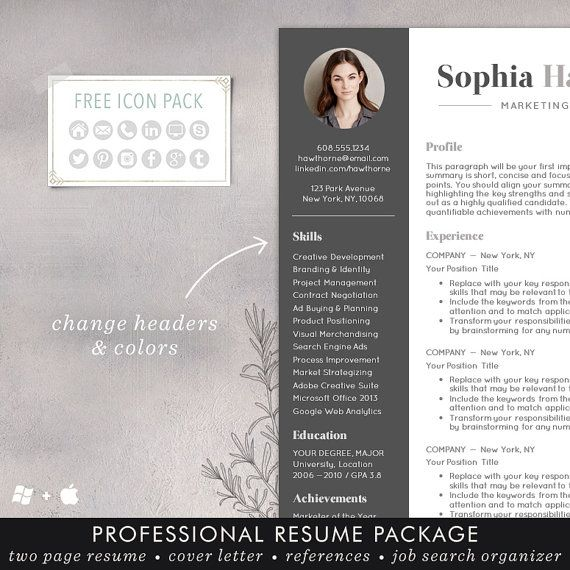 Resume Template with Photo Professional by TheShineDesignStudio CV - cool resume templates free