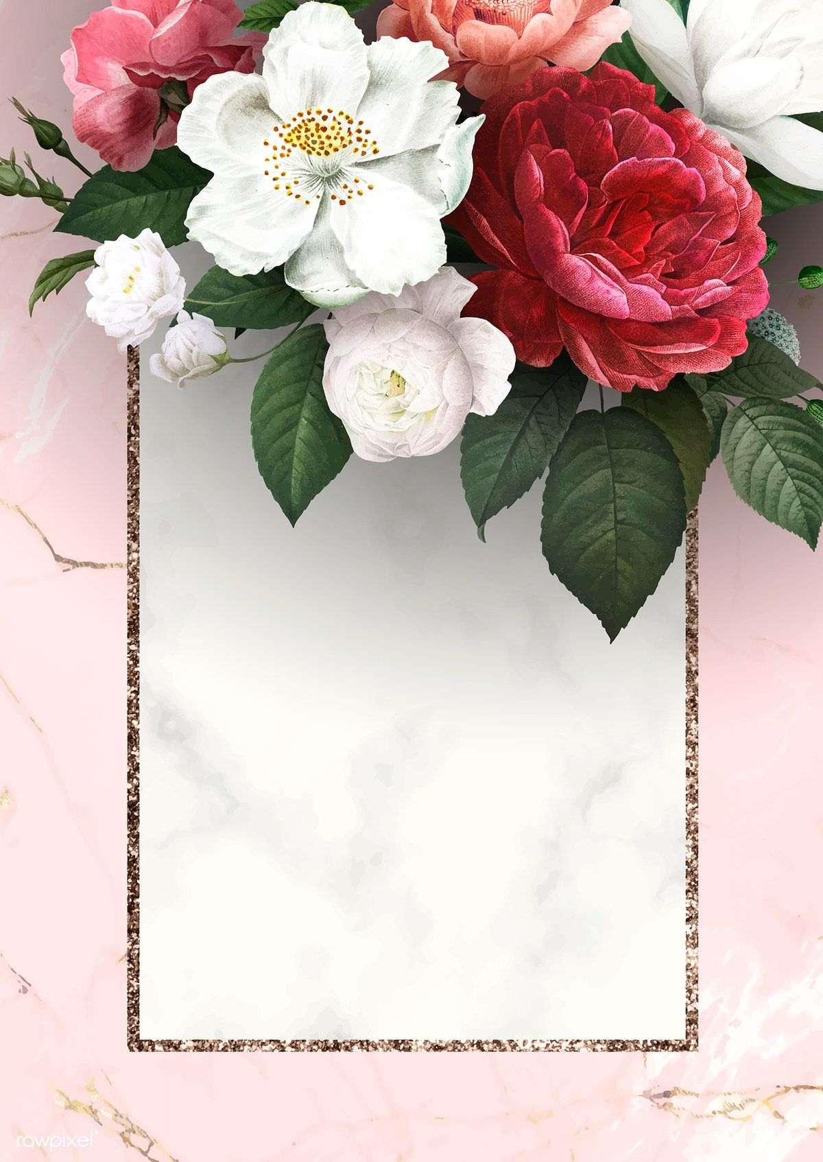 Download Premium Vector Of Floral Frame On A Marble Textured