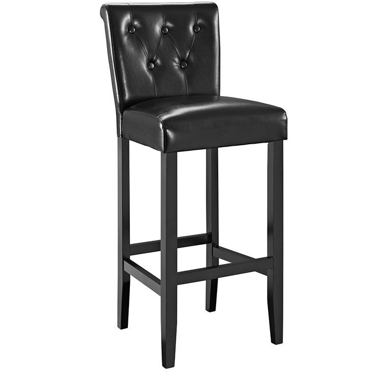 Tender Tufted Buttons Back Faux Leather Bar Stool In Black