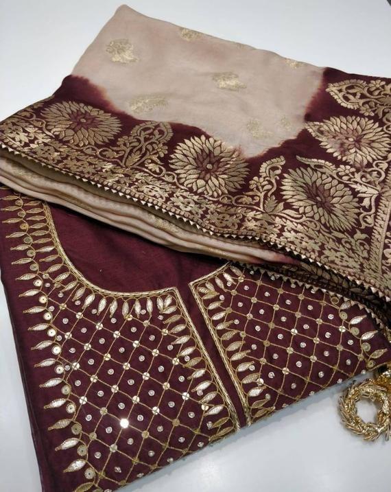 ATHARVA Hand EmbroideredIndian Salwar KameezBridal PunjabiCustomStitched UnstitchedBanarsi Silk DupattaZari,Dabka,Stone,cut,Thread