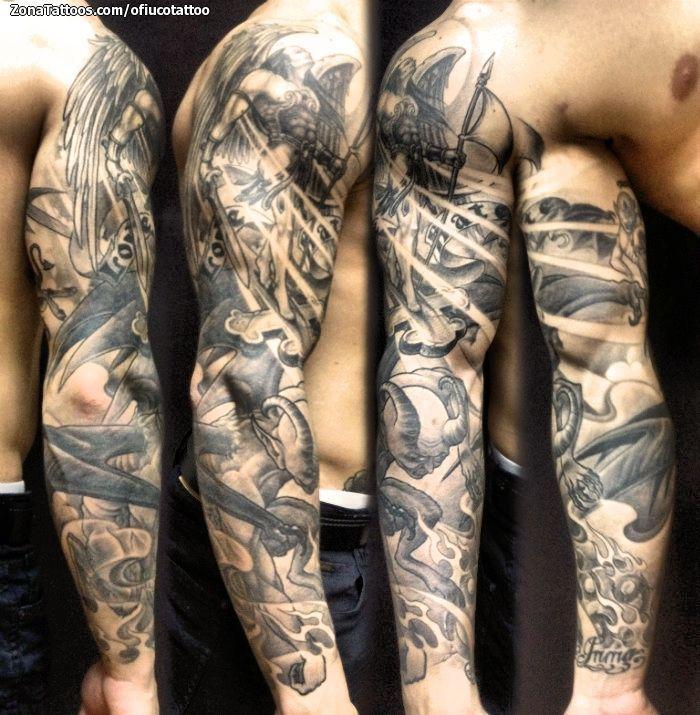 Tatuaje De Mangas, Ángeles, Demonios