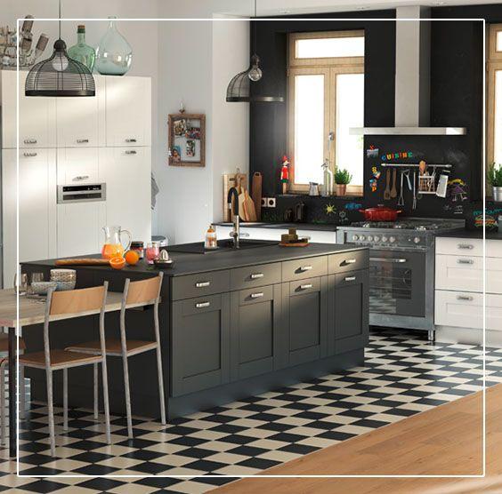 Ce carrelage sol et mur noir pikoli donnera une ambiance - Cacher cuisine ouverte ...
