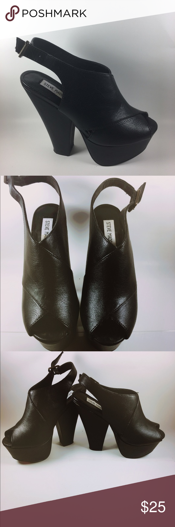 Steve Madden black platform sling backs (Like New)Steve Madden platform sling backs Steve Madden Shoes Platforms