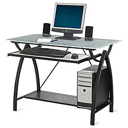 office depot computer tables. Simple Depot Realspace Alluna Collection Computer Desk 29 H X 39 12 W 23 58 D Black  FrameFrosted Glass By Office Depot U0026 OfficeMax And Tables