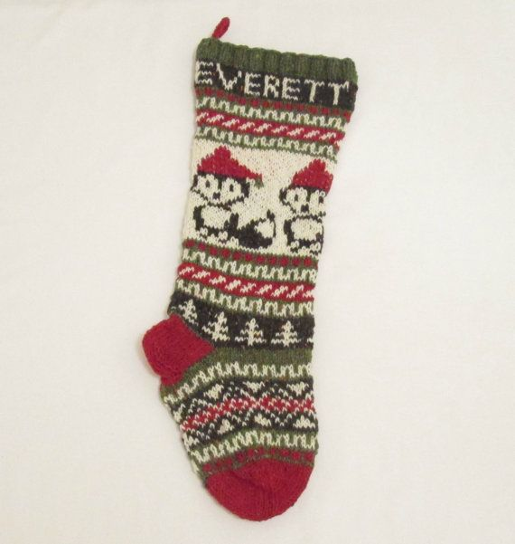 Fox Christmas Stocking Knitted Personalized with Santa Foxes (made ...
