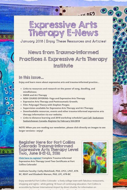 Expressive Arts Therapy E News Preview Of J Art Therapy Art