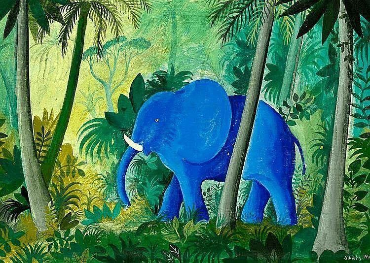 Hans Scherfig Elephant In The Jungle Signed Scherfig 1947 Tempera On Masonite 38 X 55 Cm Kunstnere Tegneundervisning Malerier