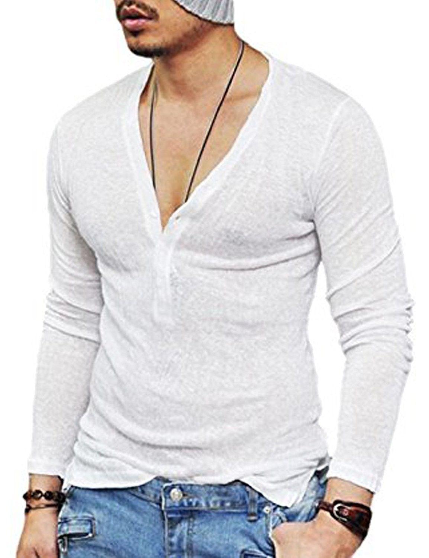 Men s Long Sleeves T-Shirt Sexy See Through Mesh Hollow Deep V Neck ... 86d1d20c0