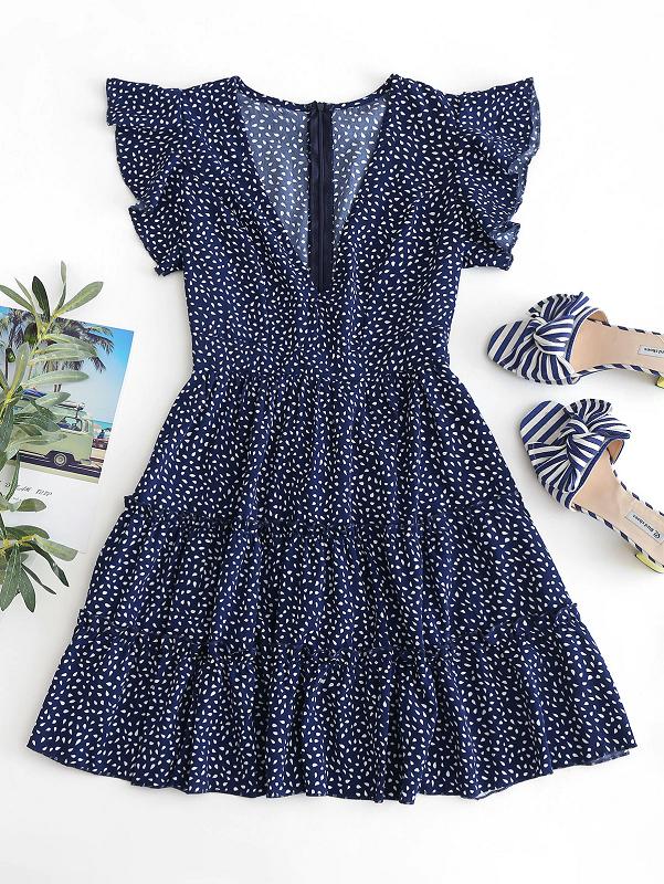 Photo of Raindrop Print Flounces A Line Dress Short Sleeves Ruffles High Waist Sexy Mini Dress – Power Day Sale