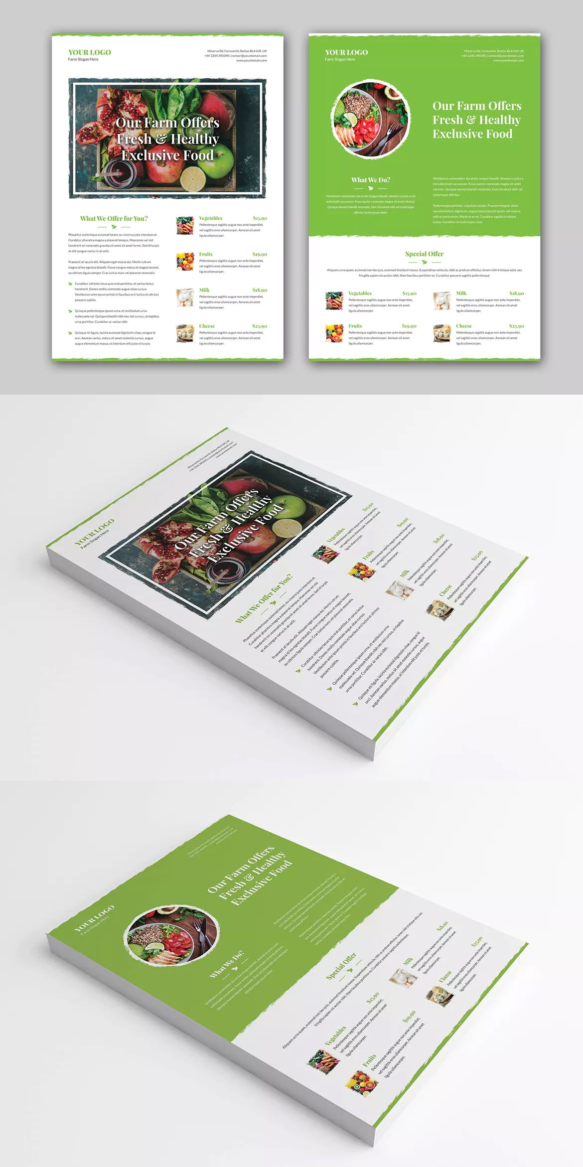 Organic Food Flyer Template PSD - A4   Flyer Templates