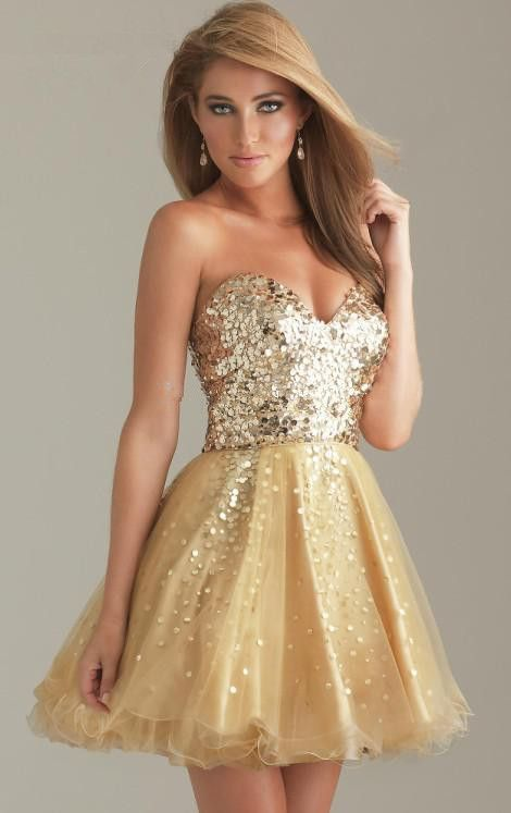 7ca2d2657d Sweetheart Top Sequin Puffy Tulle Short Gold Sequin Cocktail Dress ...