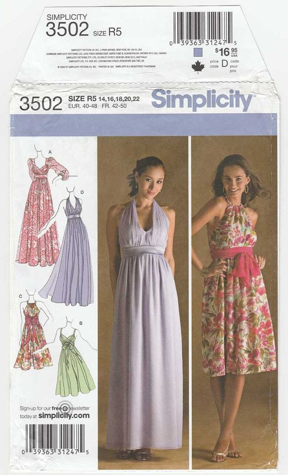 Women\'s Dress or Evening Gown Sewing Pattern, Empire Waist, Halter ...