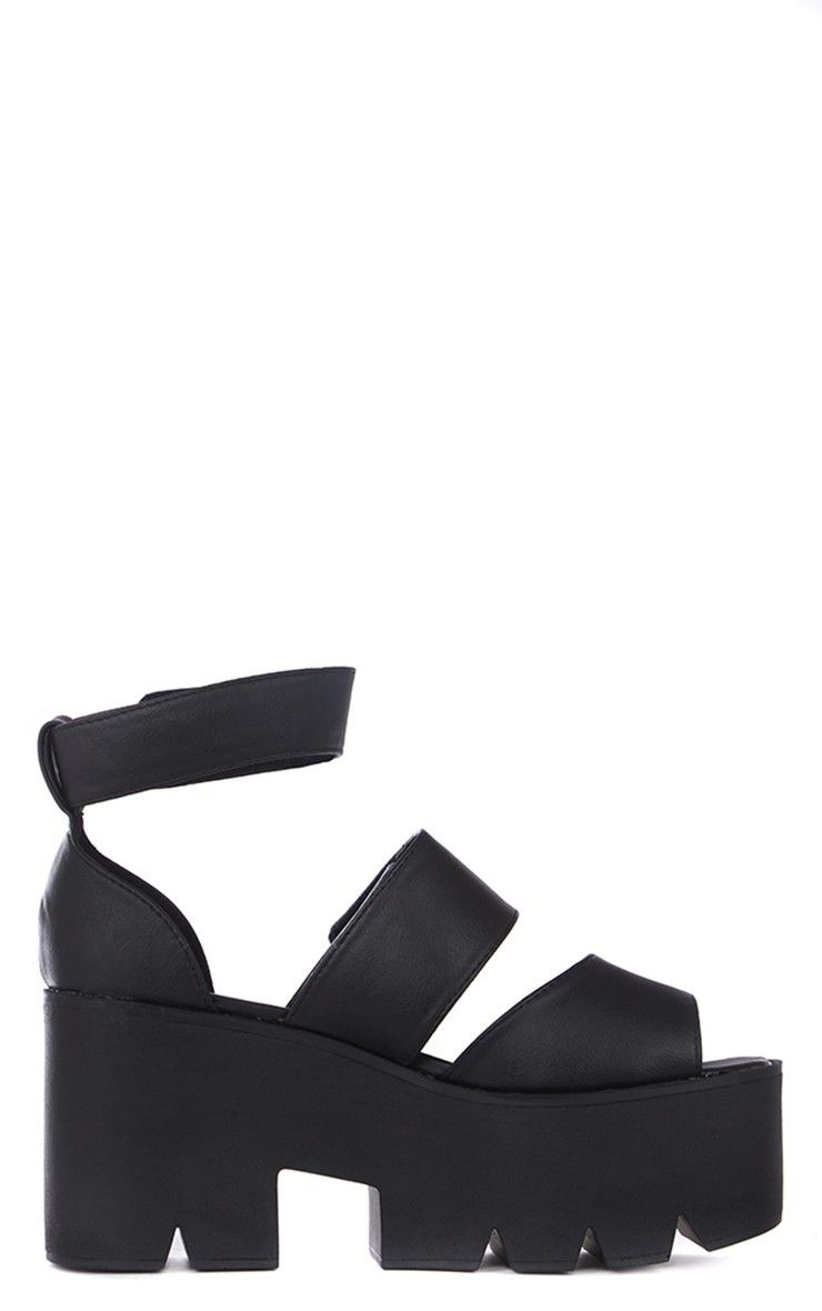 9a752265ef41 Anna Black Cleated Sole Flatform Velcro Sandals thumbnail 3