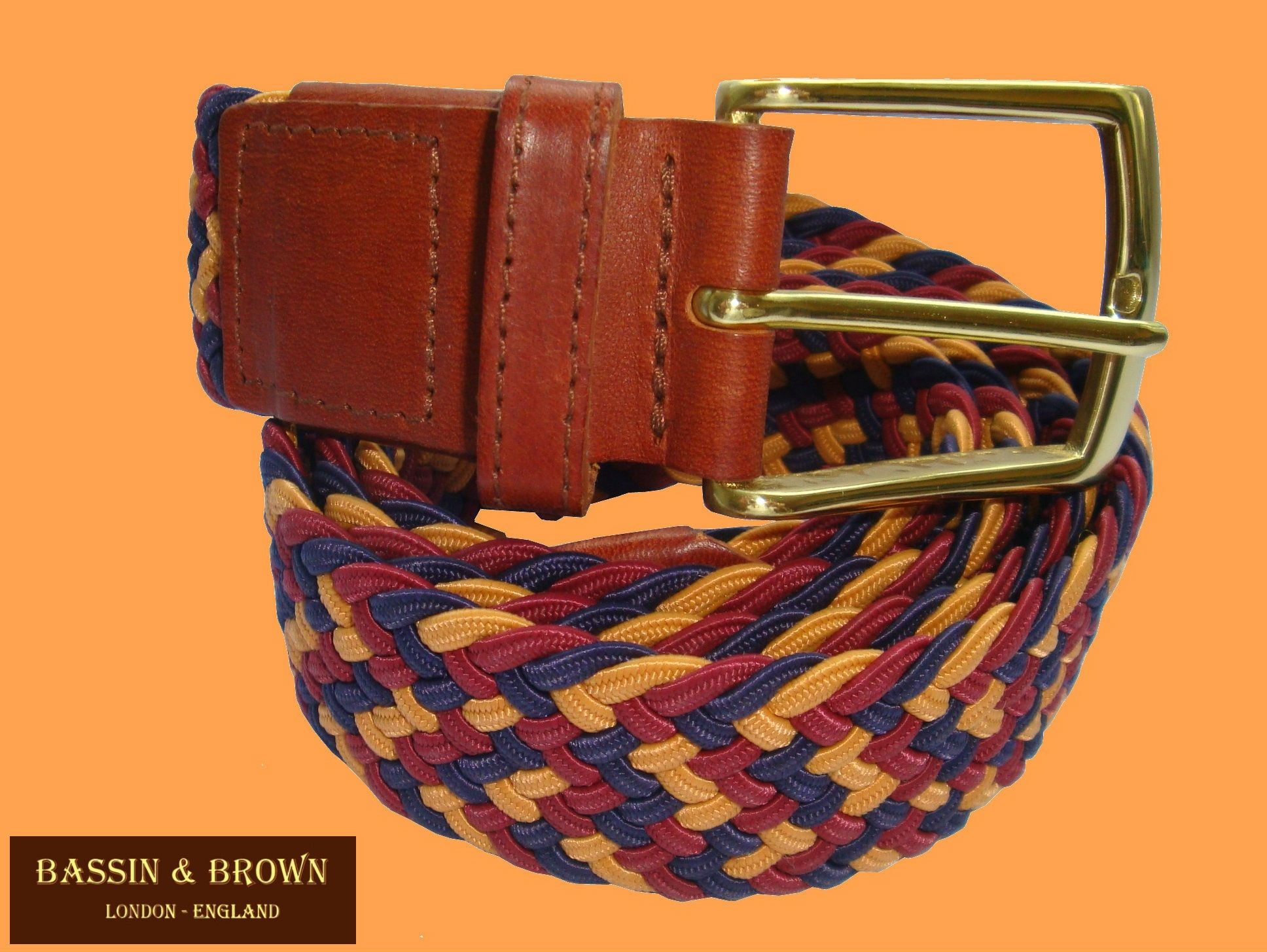Tan Bassin and Brown Mens Leather Belt